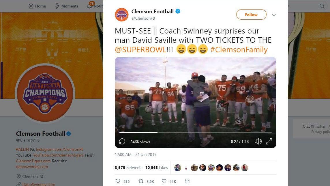Clemson's Dabo Swinney gives Super Bowl tix to equipment ...